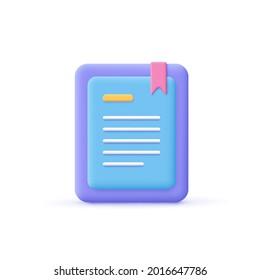 3d cartoon style minimal e-book reader, e-reader, electronic, digital book icon. Online education , online school, digital reading, e-learning concept.
