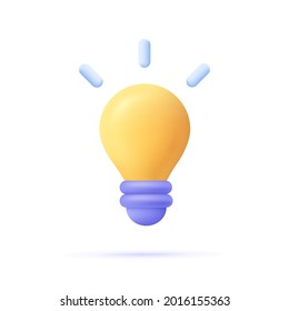 3d cartoon style minimal yellow light bulb icon. Idea, solution, business, strategy concept.