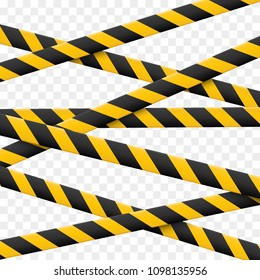 3d Caution lines isolated.  Realistic warning tapes. Danger signs. Vector illustration isolated on checkered background.