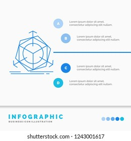 3d, change, correction, modification, object Infographics Template for Website and Presentation. Line Blue icon infographic style vector illustration