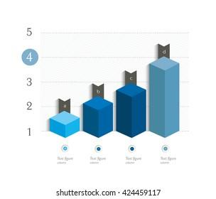 3D chart, graph. Info graphics element. Vector.