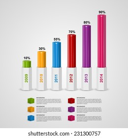 3D chart style infographic design template.