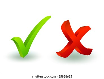 3d check and x symbol