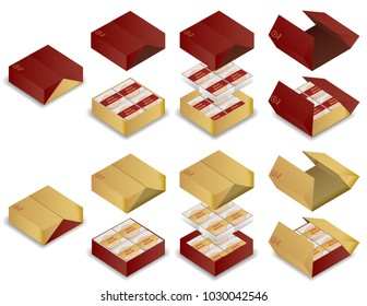 3d chinese moon cake package box vector