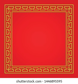3D chinese pattern frame, vector border art china style on red background
