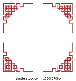 3D chinese pattern frame, vector border art china style on white background