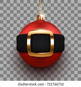3d christmas ball with Santa's belt. Eps10 vector xmas poster.