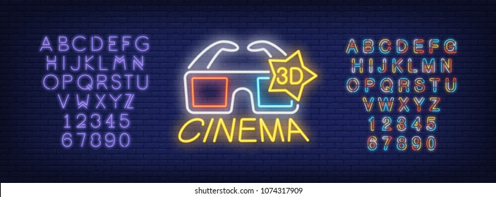 3D cinema and alphabet neon sign set. 3D glasses and violet and multicolored letters and numbers. Night bright advertisements. Vector illustrations in neon style for online movie and cinema