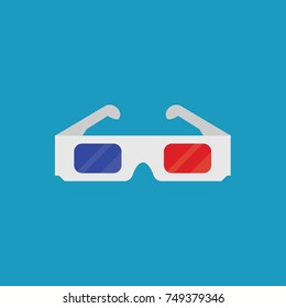 3D cinema glasses flat icon. Vector Illustration.
