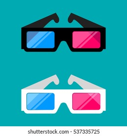 3d cinema glasses isolated on a colored background vector illustration. Design black and white 3D cinema glasses for movies. 3D cinema glasses icon concept.