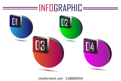 3D circle infographic. Can be used for presentation, business, finance. Vector EPS 10