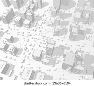 3d city buildings background street In light gray tones. Road Intersection traffic jam. High detail city view. Cars end cityscape top view. Vector illustration.