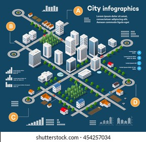 3D city isometric three-dimensional infographics including skyscrapers, homes and stores with streets and trees in the area of the town with the business conceptual graphs and diagrams