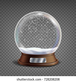 3d Classic Snow Globe Vector. Glass Sphere With Glares And Gighlights. Christmas Crystal Snow Globe Isolated On Transparent Background Illustration