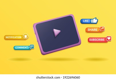 3d Clay Tablet device with pop up message subsribe symbol for channel streaming video concept in cartoon illustration vector