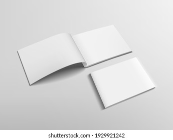3D Clear Open And Close Horizontal Catalog Or Magazine. EPS10 Vector