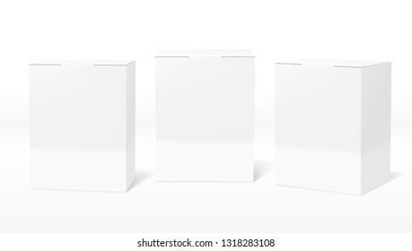 3D Clear White Blank Cardboard Package Boxes Set. EPS10 Vector