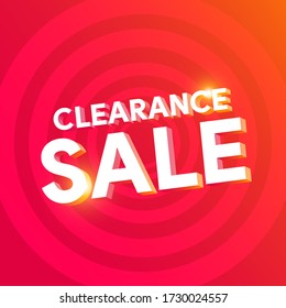 3D Clearance sale text with circle background