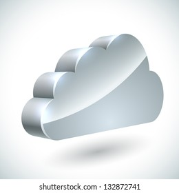 3D cloud internet service icon isolated on white background.