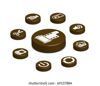 3d coffee web button set, web Site & Internet design element.