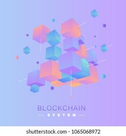 3D coloful  blockchain vector concept