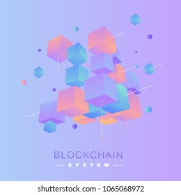 3D coloful  isometric blockchain vector concept illustration