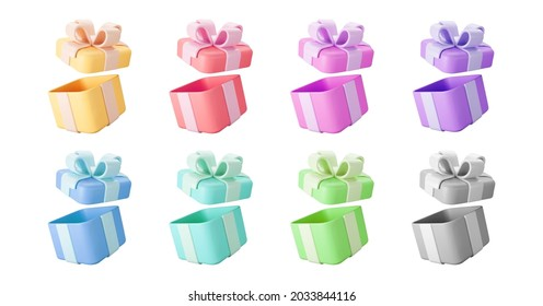 3d color open gift boxes set with pastel ribbon bow isolated on a white background. 3d render flying modern holiday open surprise box. Realistic vector icon for present, birthday or wedding banners