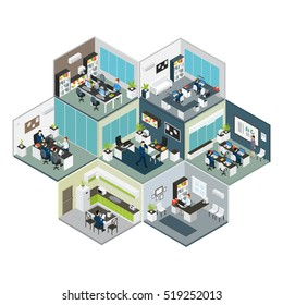 3d colored isometric office on different floors composition looks like bee honeycomb vector illustration
