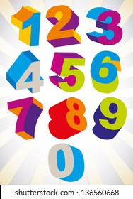 3D colorful bold numbers vector set, psychedelic colors trendy style.