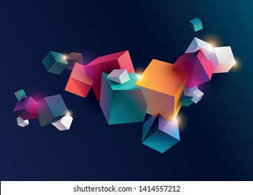 3D colorful cubes on dark background