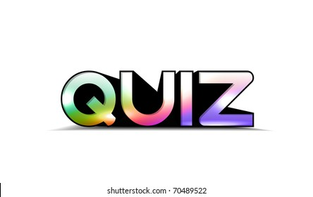 3d colorful quiz text, isolated on white background.