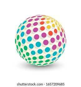 3d colorful sphere isolated on white background. Abstract template. Scientific icon with geometric pattern. Vector illustration.