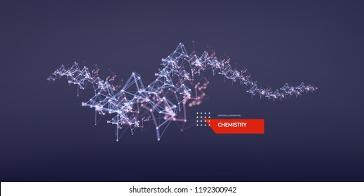 3d connection structure. Futuristic technology style. Low-poly element for design. Vector illustration for science, chemistry or education.
