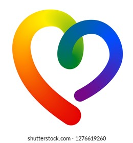 3d contour heart shape in lgbt lesbian, gay, bisexual, transgender rainbow flag vibrant colorful colors isolated on white background. stock vector illustration clipart