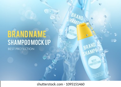 3d cosmetic illustration with realistic shampoo bottles, blue mockups for hair care on a blurred background with water splash and bubbles
