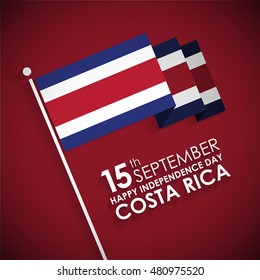 "3d Costa Rican Flag with typography. 15th September ""The Republic of Costa Rica happy Independence Day"""