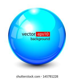 3D crystal, glass sphere, vector illustration