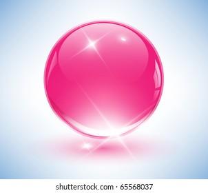 3D crystal sphere, pink ball. Vector illustration.