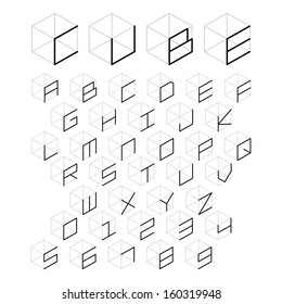3d cube alphabet and number, vector illustration.
