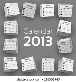 3d cube calendar 2013
