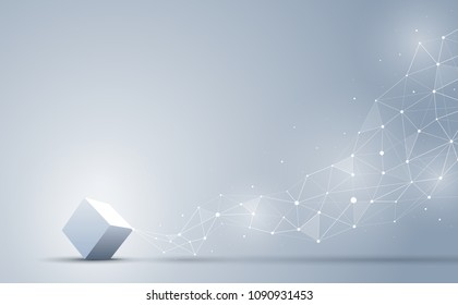 The 3d cube connecting to abstract geometric polygonal with connecting dots and lines. abstract science and technology background. Big data and Internet connection concept. Vector illustration.