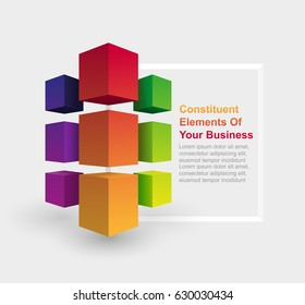 3d cube design business concept, first page element brochure