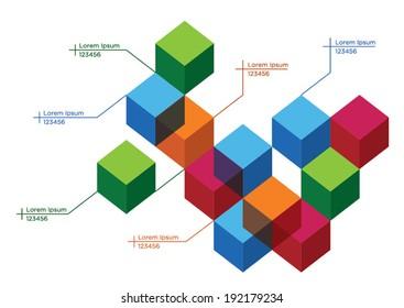 3D Cube diagram template