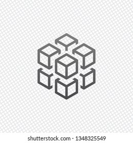 3d cube with eight blocks.  On grid background