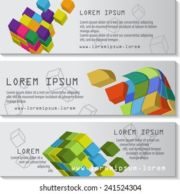 3D Cube Flyer Template Set - Vector Illustration, Graphic Design, Editable For Your Design