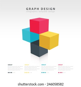 3d cube graph and info graphic design template 4 color