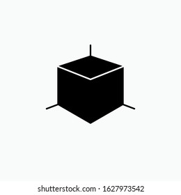 3D Cube Icon. Multi Dimension Shape Illustrations, Vector Sign & Trendy Symbol.