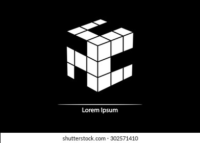 3D cube isolated on a black background. Modern vector illustration for web and mobile.