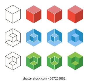 3d Cube isometric logo concept. Abstract square logo template. Corner geometric shape, symmetric symbol, square icon, box logo, box square shape. Company logo. Outline design.