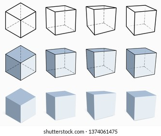 3D cube. Isometric and perspective view. Set of vector dimensional figures. Illustration for geometric, artistic and scientific design. Contour and solid cube options isolated on white background.